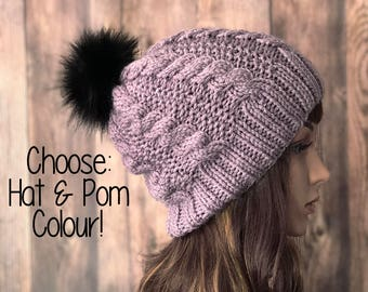 Slouchy Knit Hat, Womens Hat, Women Beanie, Womens Accessories, Teen Hat, Teen Beanie, Teen Accessories, Faux Fur Pom Pom Hat
