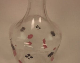 Vintage Playing Cards Decanter with hearts spades clubs and diamonds marked FRANCE 2 no stopper