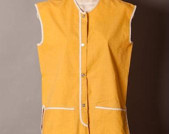 Vintage Smock Apron - mustard yellow