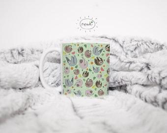 Sloth Pattern Mug, Sloth Coffee Mug, Cute Sloth Gift, Sloth Mugs, Sloth Coffee Cup, Cute Sloth Mug, Sloth Design Mug, Cute Sloth Mugs, Sloth