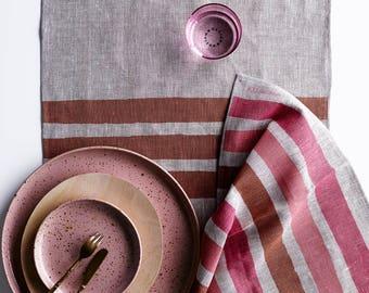 Rose, Blush + Dust stripe linen table runner