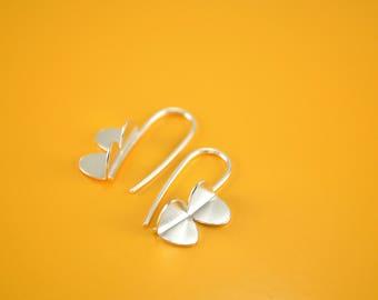Sterling Silver Earrings, Modern Earrings, Contemporary Jewelry, Dangle, Mini Wing Earrings