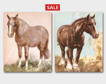 Horse Art Prints, Farm Decor (Pony Wall Print, Clydesdale Illustration ) Set of 2