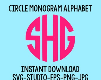 SALE! Circle Monogram Font Svg, Svg Files, Svg Fonts