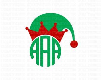 Elf Hat Monogram Svg, Christmas SVG, Elf Hat SVG, Christmas SVG, Silhouette Cut Files, Cricut Cut Files