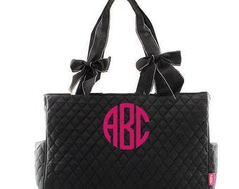 Monogrammed Diaper Bags Personalized Quilted Diaper Bags Solid Black Diaper Bag Monogrammed Diaper Bag Quilted Diaper Bags Diaper Bag Set