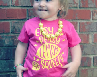 Easy Peasey Lemon Squeezy | Vinyl tee - Kids comfy tee - Summertime t shirt - Crew neck kids t shirt - Everyday Tee - Girl's or boy's shirt