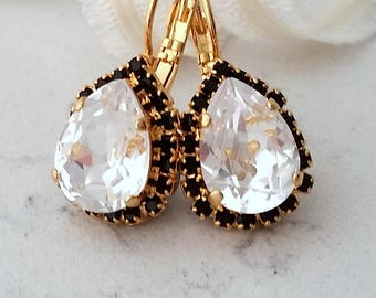 Clear crystal earrings,Clear and black drop earrings,Clear Swarovski drop earrings,Bridal earrings,Bridesmaids gifts,Gold teardrop earrings