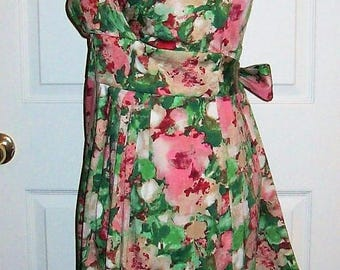Vintage Ladies Pink & Green Floral Water Color Dress by Talbots Size 8 Only 20 USD