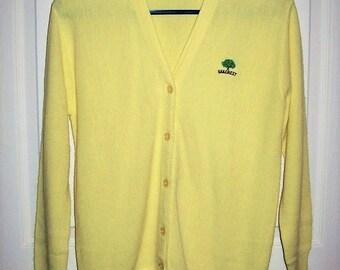 Vintage 1960s Ladies Yellow Cardigan Golf Sweater Oakcrest Logo Large Only 10 USD