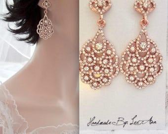 Rose gold chandelier earrings, Crystal wedding earrings, Brides earrings, Rose gold peacock earrings ~ Rose gold crystal earrings,