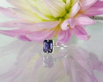 Iolite Ring, Iolite Sterling Ring, Purple Gemstone Ring, Purple Solitaire Ring, Solitaire Ring, Emerald Cut Ring, Iolite Silver Ring