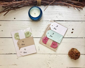 CHRISTMAS Holiday, 24 Gift Tags with Bakers Twine, Mint/Cream or Cream/Kraft