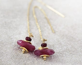 Ruby Threader Earrings - Long Ruby Earrings - July Birthstone - Statement Earrings - Gold Threader Earrings - Red Gemstone Earrings