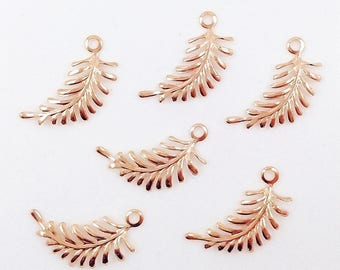 Rose Gold Fern, Brass Fern Leaf, Leaf Charm, Left Facing Fern, Leaf Stamping, Brass Fern Leaves, Earring Drop, 29mm x 12mm - 6 pcs. (rg336)