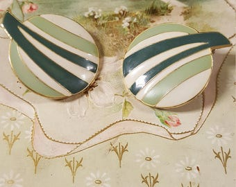 1980s Green and Cream Enamel Earrings