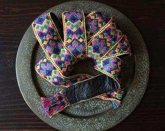 Vintage 1970's Textile and Leather Tie Belt, Vintage Ethnic Textile/Leather Belt, Bohemian, Hippie, Gyspy, Tribal, Ethnic