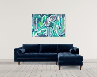Large Abstract Wall Art Painting, Blue Gray Green Painting, Abstract Art Canvas, Contemporary Abstract Painting Canvas or Poster