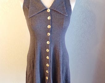 1990's 90's GRAY FIT N FLARE cle mini dress xs S (D7)