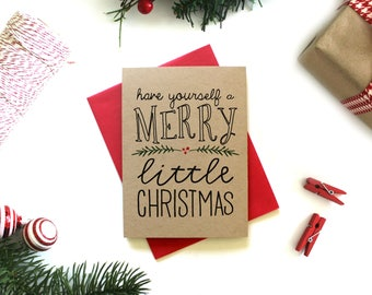 Christmas Card Set - (Set of 5) Christmas Cards, Christmas Card Pack, Holiday Cards, Kraft Card, Xmas Cards, Holiday Greeting Card