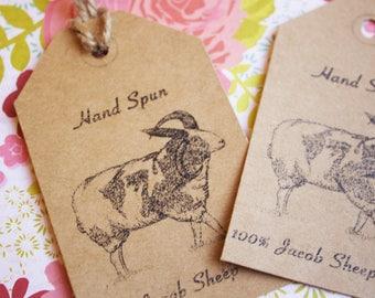 """Printable PDF- """"Hand Spun Yarn"""" Tags for Jacob Sheep Wool"""