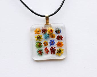 Millefiori Fused Glass Pendant, Fused Glass Jewelry, Square Glass Pendant, Flower Glass Pendant, Millefiori Pendant, Thousand Flowers