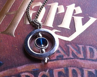 Time Turner Necklace - Blue - HP - Spinning Charm - Silver Plated - Cosplay - Fantastic Beasts - Christmas in July - Summer - Wedding Gift