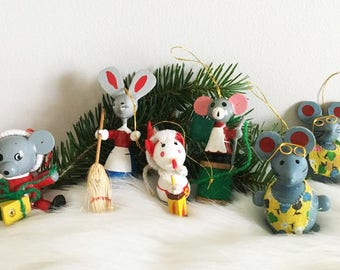 Christmas Mouse Ornaments / Vintage Wooden Toy Ornaments / Mouse Tree Ornaments / Lot of 6