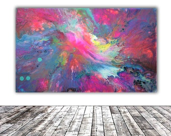 """ORIGINAL ABSTRACT ART - 20x12"""" - Fusion 13, Unique Original Fluid Abstract Painting Fine Art One of a Kind, Gift Wall Decor"""