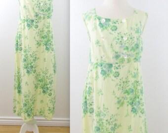 April Cornell Pinafore Dress - Vintage 1990s Spring Floral Famrhouse Dress in Large xLarge