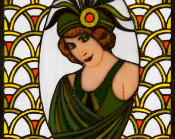One of a kind handmade and hand painted stained glass panel of a deco lady dressed in green