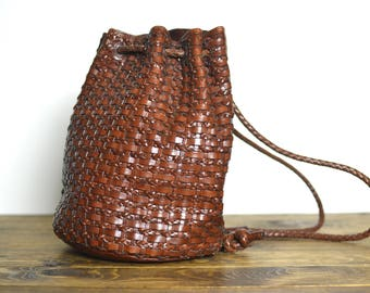 Vintage Cognac Brown Leather Drawstring Backpack - Woven 90s Convertible Duffle Bag