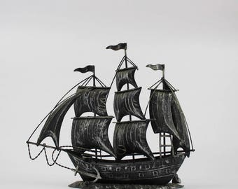 Vintage Forged Metal Model Ship - Square Rigged Sailing Clipper - Tall Ships Display Nautical Decor