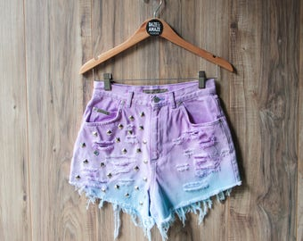 High waist vintage denim shorts size 10 | Ripped distressed shorts | Dip Dye ombre purple blue denim | Studded hipster festival shorts |