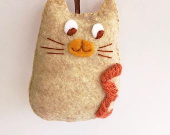 Felt Cat Ornament, Hanging Cat Ornament, Stuffed Cat, Stuffed Cat Ornament, Kitten Ornament, Rear View Mirror Car Charm