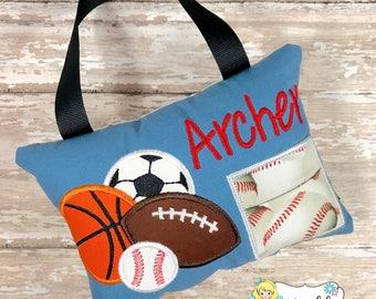 Sports Tooth Fairy Pillow, Boy Sports Tooth Fairy Pillow, Keepsake Pillow, Soccer, Football, Baseball, Basketball, Tooth Fairy Pillow Boy