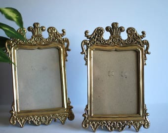 Vintage Ornate Brass Frames - Set of 2 - 3.5'x5' photo opening, photo frames, signage display, victorian, boho, traditional