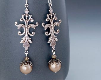 Antiqued Silver Victorian Earrings, Taupe Earrings, Victorian Jewelry, Taupe Dangle Earrings, Silver Earrings Drop, Hypoallergenic, Greta