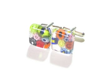 Murano Glass Millefiori Colorful Square Cuff Links, Tie Accessories, Italian Glass Jewelry For Men, Venetian Glass Cuff Links