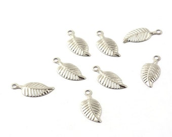 Stainless Steel Leaf charms - stainless steel charms - Stainless steel leaves charms - 14mm x 6mm (2045) - Flat rate shipping