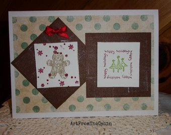 Gingerbread Man Card, Happy Holidays, Christmas Ginger Man Card, Christmas Tree, Snowflake, Holiday Wishes, Brown and Green, ArtFromTheCabin