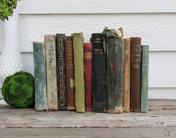 Set of 11 Vintage Books -Antique Book Decor -Farmhouse - Tattered Books -Gold, Red, Blue, Black, Green, Brown -Rustic Books - French Country