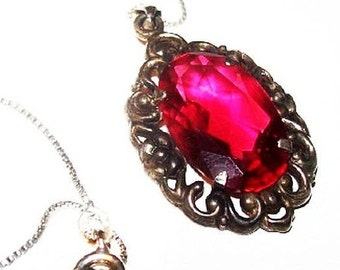 "Art Deco Ruby Red Pendant Sterling Silver Signed Art Glass 18"" Vintage"