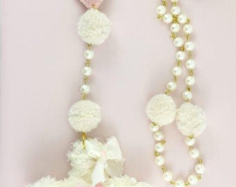 Fairy kei Rosary-Cult Party Kei-lolita-Fairy Kei Necklaces-Gift For Her-Pastel-Harajuku-Hime-Kawaii-Rosary-Fuzzy Cross