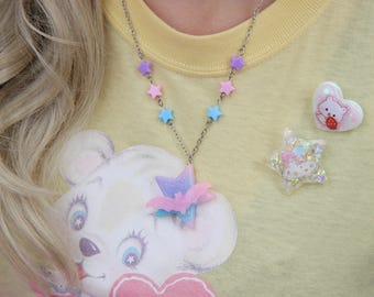 Pastel Galaxy Colored Star and Bat Creepy Cute Necklace