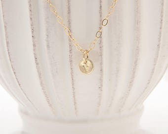 Initial Necklace Gold Personalized - Tiny Initial Gold Necklace - Dainty Initial Necklace for Daughter - Monogram Necklace for Women
