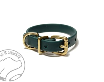 "NEW - Pine Green Biothane Dog Collar - 5/8"" (16mm) wide - Leather Look and Feel - Small Dog Collar - Stainless Steel or Solid Brass Hardware"
