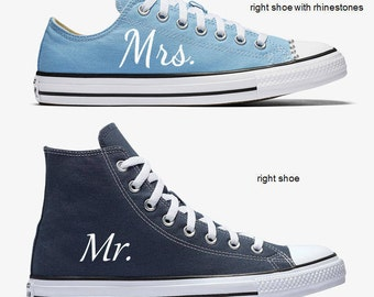 Custom Bride and Groom Mrs. and Mr. Wedding Converse Sky Blue and Navy Hand Painted
