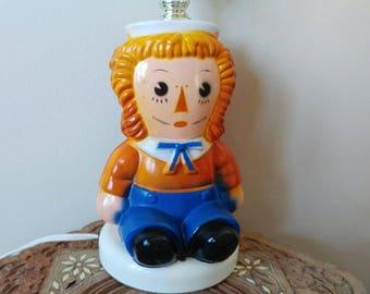 Sweet Vintage Raggedy Andy Accent Lamp- Kid's Room Nursery Plastic Orange Blue Storybook Retro Rustic Shabby Raggedy Ann Johnny Gruelle