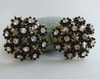 Atomic Retro Era Floral Inspired Starburst Earrings with Black Plastic & Rhinestone Details- Clip On Funky Big Bold Statement Old Riveted